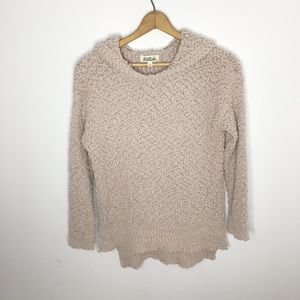 Listicle hooded popcorn sweater tan Size small